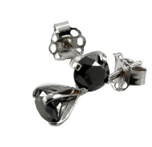 עגילי יהלומים שחורים צמודים 0.50 קראט