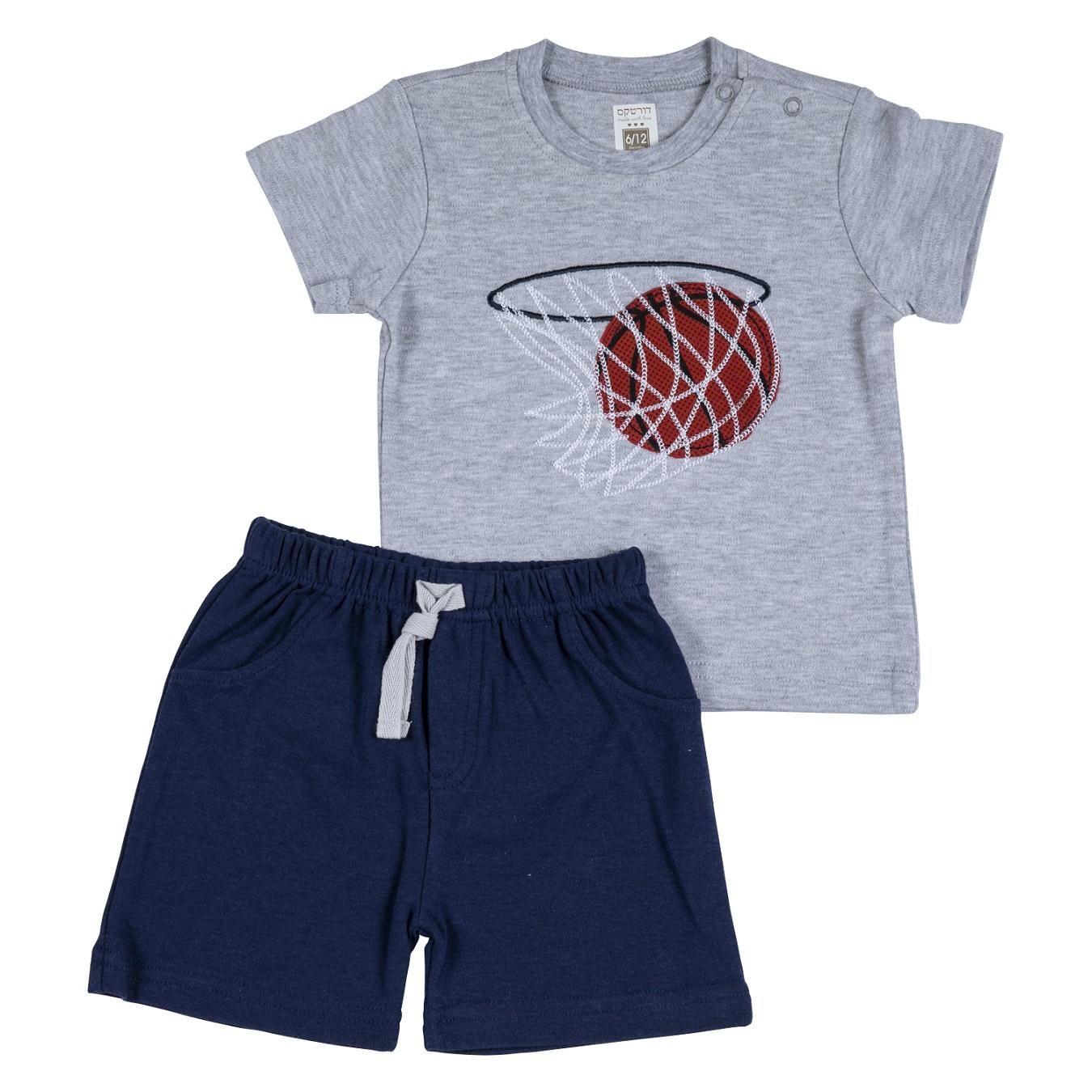 חליפה קצרה הדפס כדורסל אפור מלאנג'