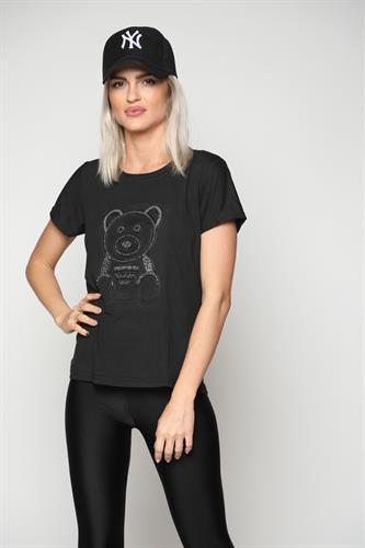 חולצת נשים הדפס הבלטה דובי שחור