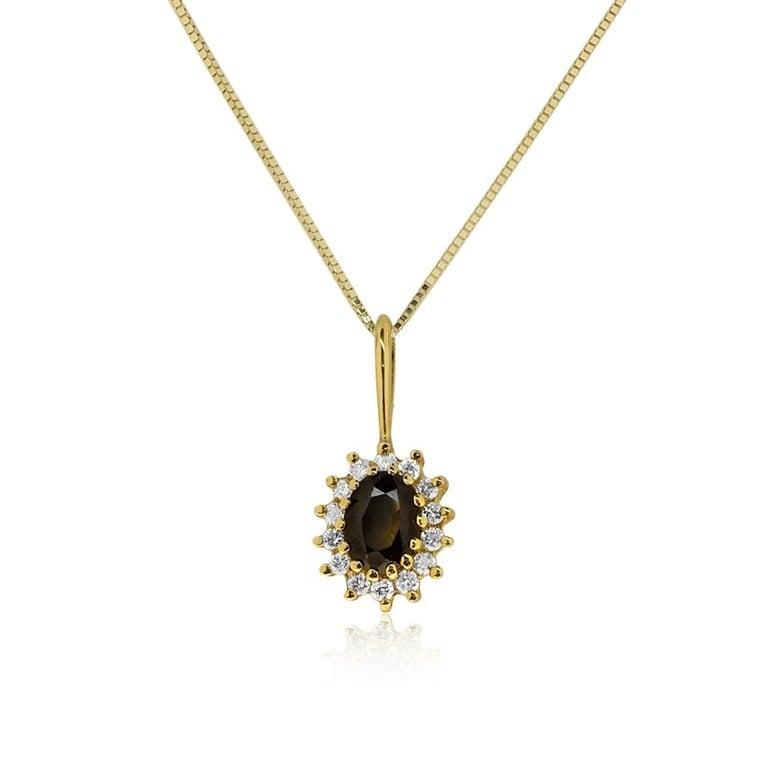 שרשרת דיאנה זהב 14 קרט משובצת אבן חן ספיר 1 קראט ו0.26 קראט יהלומים