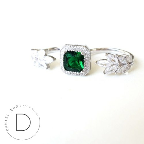 טבעת כפולה ריבוע ועלים- ירוק כסף 925