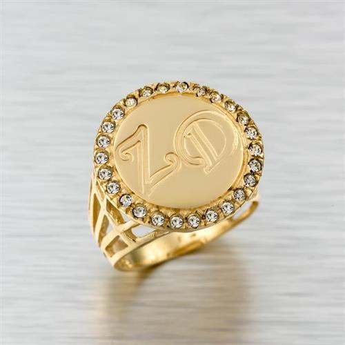 טבעת שם בעיצוב אישי גולדפילד 18 קראט איכותית משובצת זרקונים