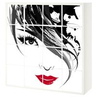 16 יח' טפט להדבקה על דלת כוורת  (KALLAX)- אישה בשחור