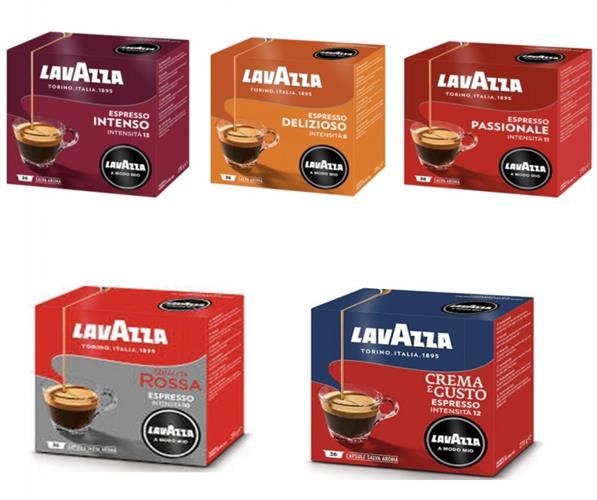 180 קפסולות קפה מיקס LAVAZZA A MODO MIO אורגינל
