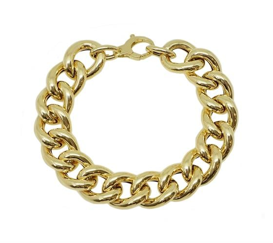 צמיד זהב חוליות גדול מלא נוכחות לאישה