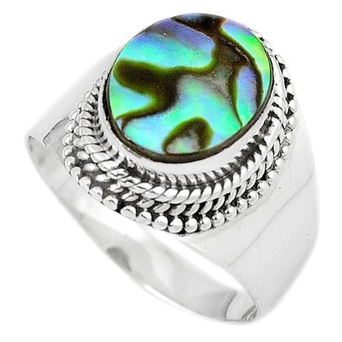 טבעת כסף משובצת צדף ירוק RG6629