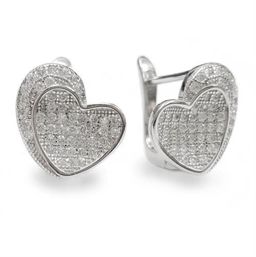 עגילי כסף בצורת לב משובצים אבני זרקון A5620 | תכשיטי כסף 925