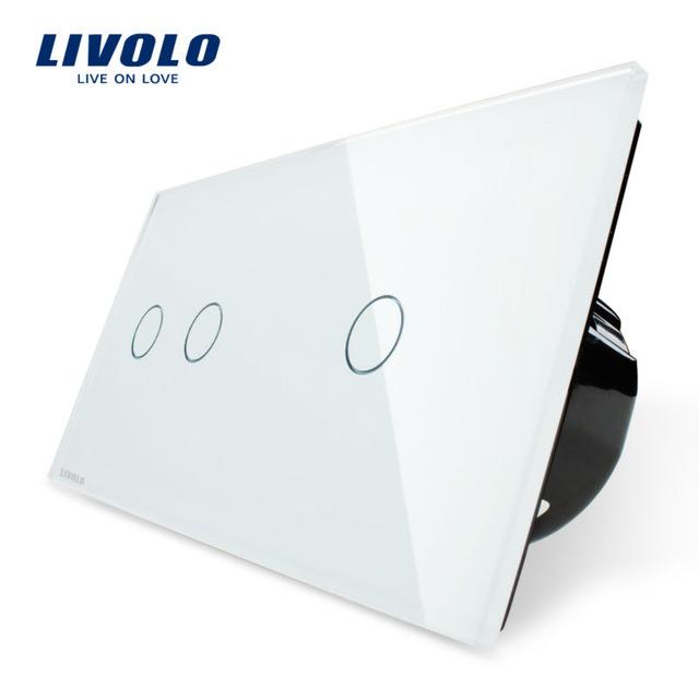 מפסק טאצ' Livolo זכוכית קריסטלית לבנה 2 מפסקים שמאל מפסק אחד ימין אינדיקציית לד