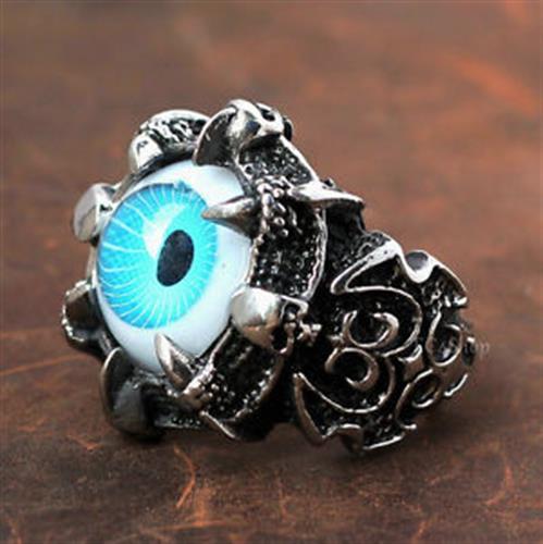 טבעת פלדה (Stainless steel) גברים ונשים עין דרקון כחולה OP08170032B-IN