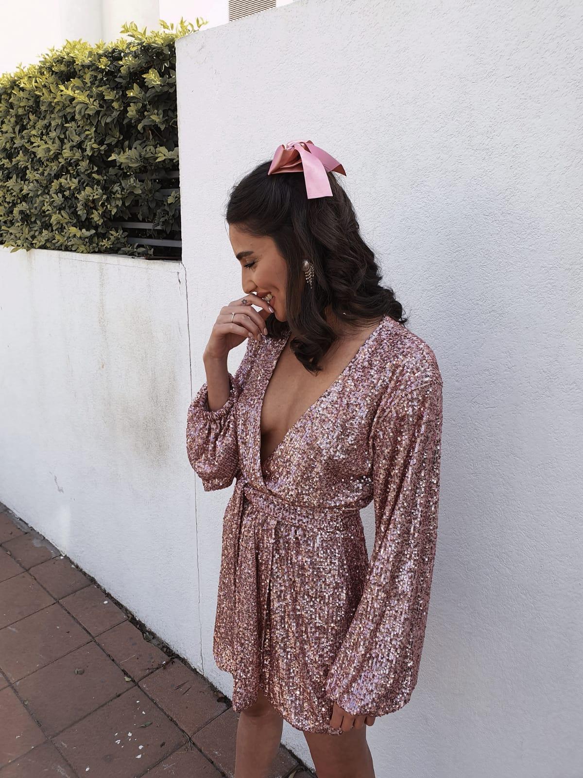שמלת סלין פאייט - ורודה