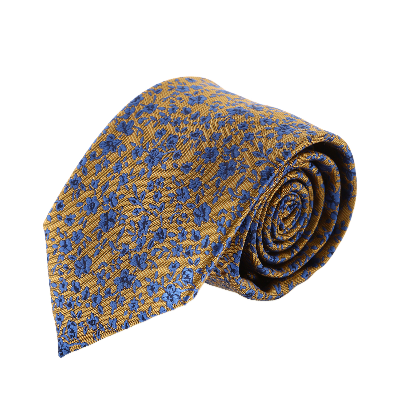 עניבה קלאסית פרחים כחול זהב
