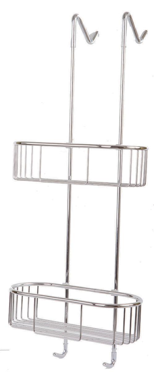 מדף כפול רשת מעוגל לתליה על מקלחון- ניקל