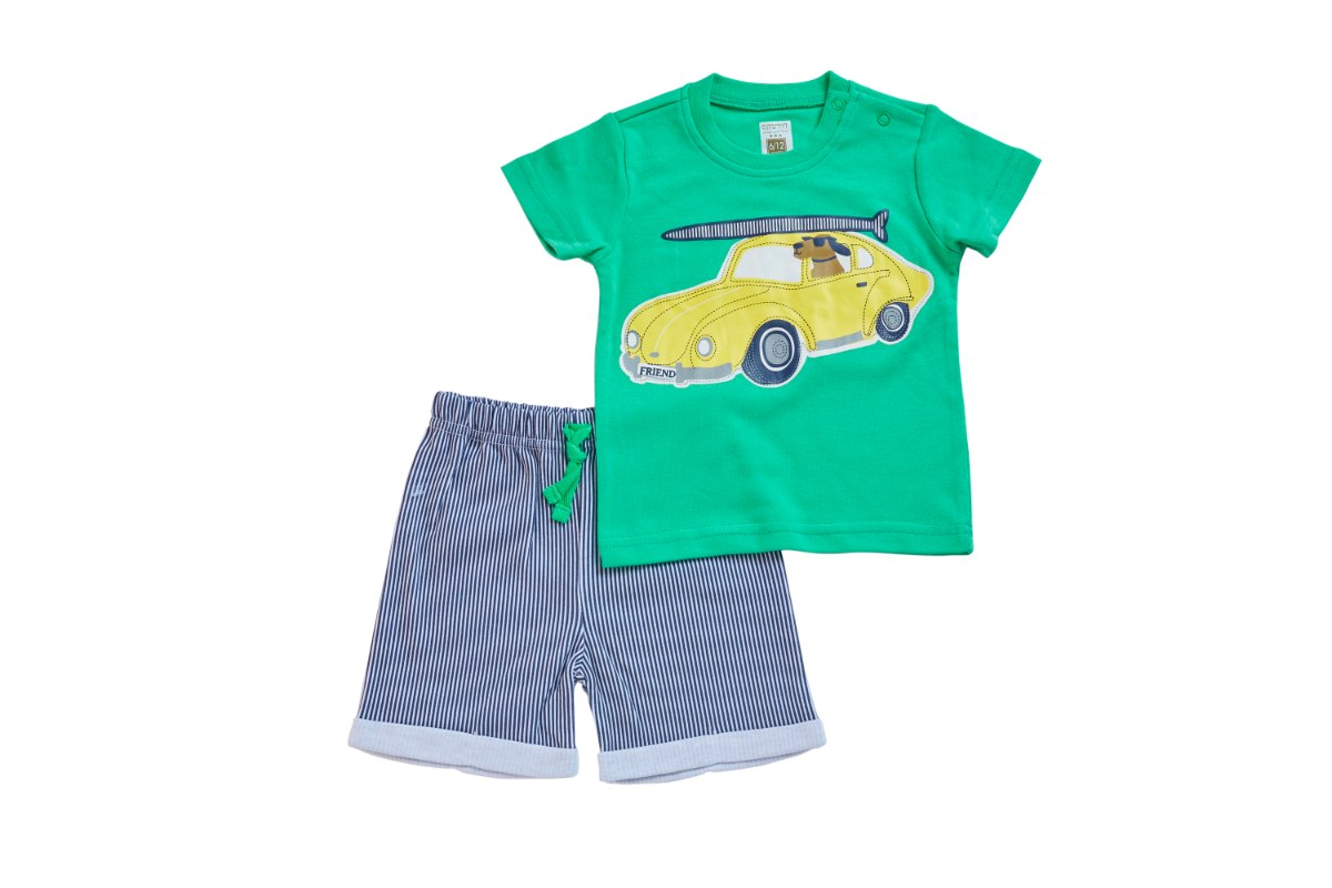 חליפה מכונית וכלב ירוק