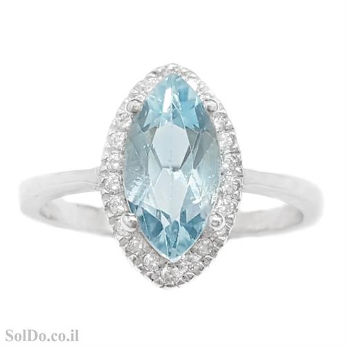 טבעת מכסף משובצת אבן טופז כחולה וזרקונים RG6069 | תכשיטי כסף 925 | טבעות כסף