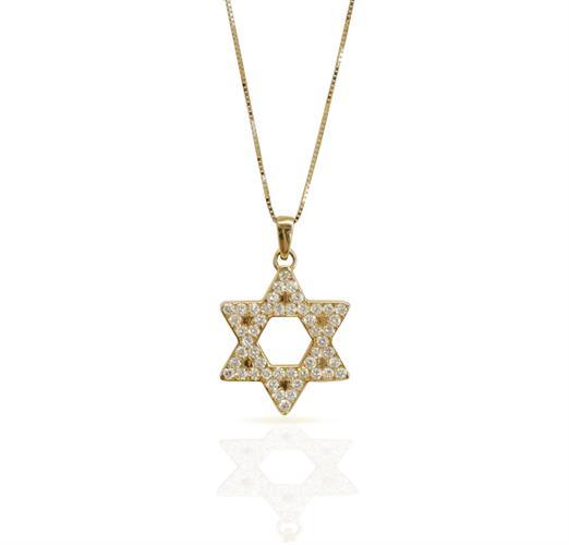 שרשרת מגן דוד לגבר משובץ יהלומים לבנים 0.70 קראט