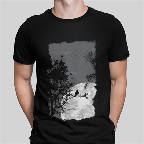 חולצת טי עם הדפס עורבים