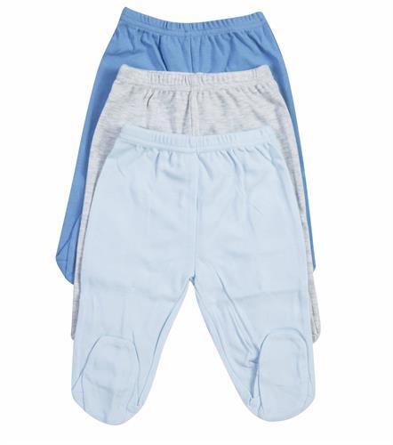שלישיית מכנסי רגלית B-004 כחול/ אפור מלאנג'/ תכלת בייבי