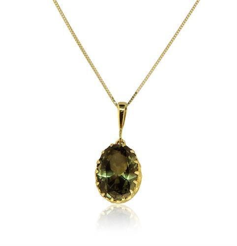 שרשרת ותליון זהב 14 קרט משובצת אבן פרידוט זרקון