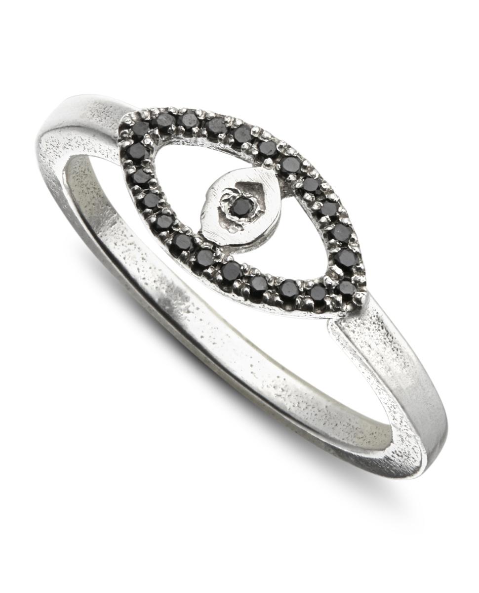 טבעת עין כסף 925 ויהלומים שחורים