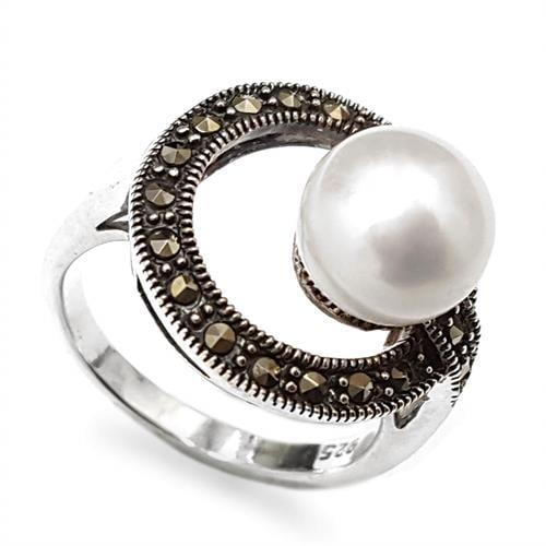 טבעת כסף משובצת מרקזטים ופנינה לבנה RG8501 | תכשיטי כסף 925 | טבעות כסף