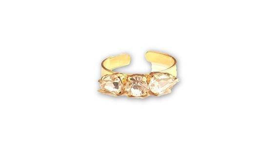 טבעת חצים קריסטלים- זהב