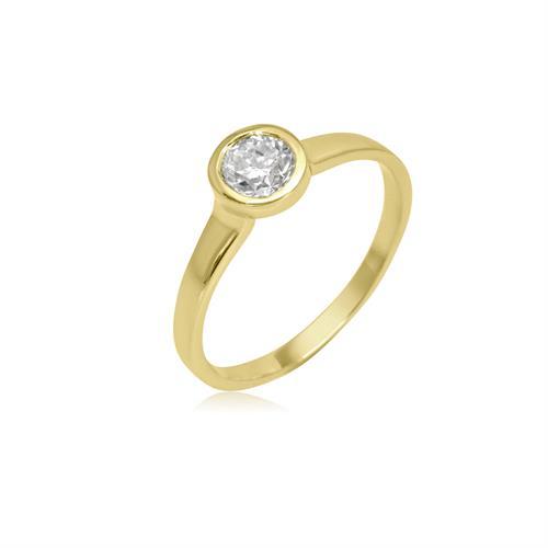 טבעת יהלום זהב דגם באזל 0.54 קראט │ טבעת זהב משובצת יהלום לבן נקי │ טבעות יהלום