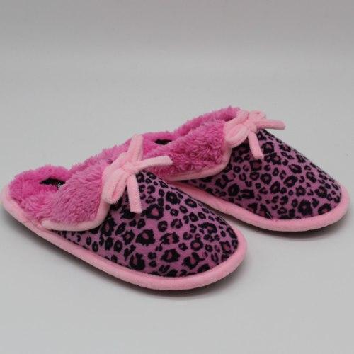 נעלי בית חמות לילדות מנומר ורוד