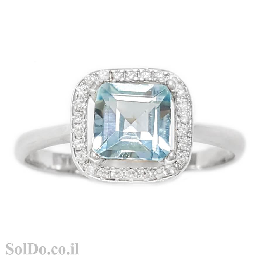 טבעת מכסף משובצת אבן טופז כחולה בצורת ריבוע  וזרקונים RG1614 | תכשיטי כסף 925 | טבעות כסף