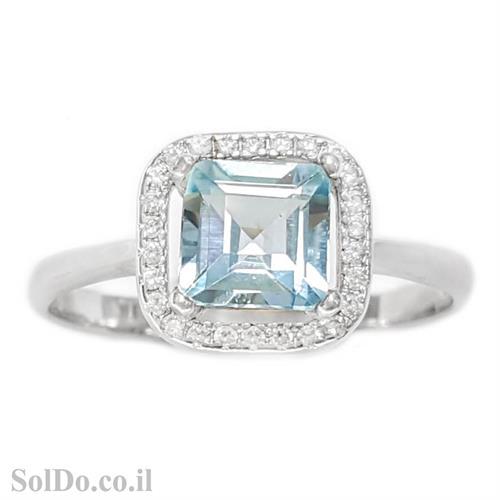 טבעת מכסף משובצת אבן טופז כחולה בצורת ריבוע  וזרקונים RG1614   תכשיטי כסף 925   טבעות כסף