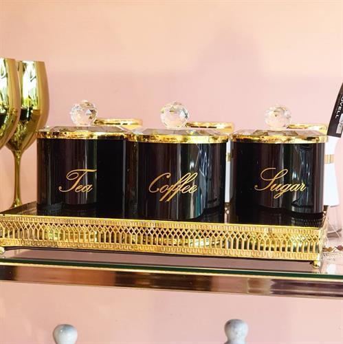 סט קפה קריטסל שחור זהב