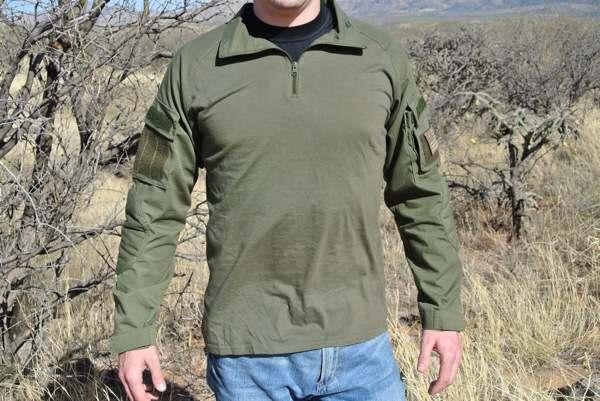 חולצה טקטית מדי לחימה צבע ירוק זית עם מגני מרפק