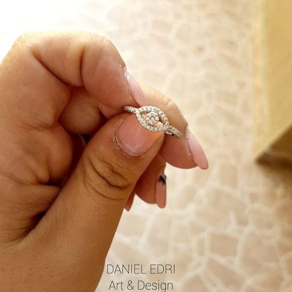 טבעת עין משובצת- כסף
