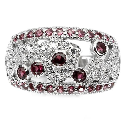 טבעת כסף משובצת אבני גארנט וזרקונים RG0514 | תכשיטי כסף