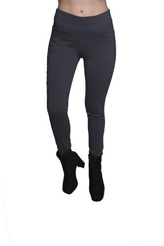 מכנס צמוד ללא רוכסן וללא כפתור בצבע אפור כהה