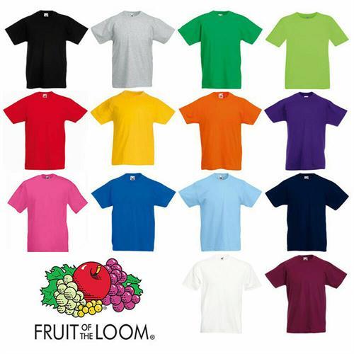 חולצות טי  (T-SHIRTS) לילדים מותג פרוט אוף דה לום  (FRUIT OF THE LOOM)  מבחר צבעים