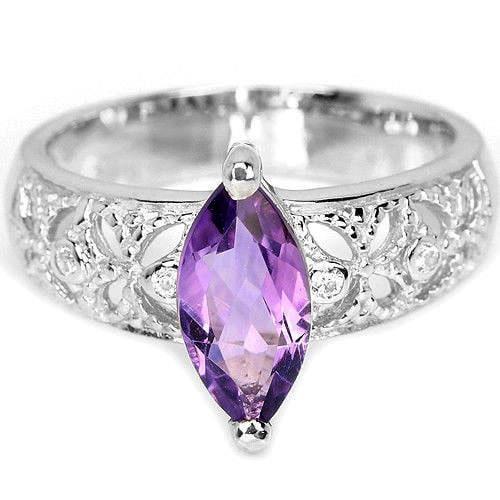 טבעת כסף משובצת אמטיסט סגול וזרקונים RG5511 | תכשיטי כסף 925 | טבעות כסף