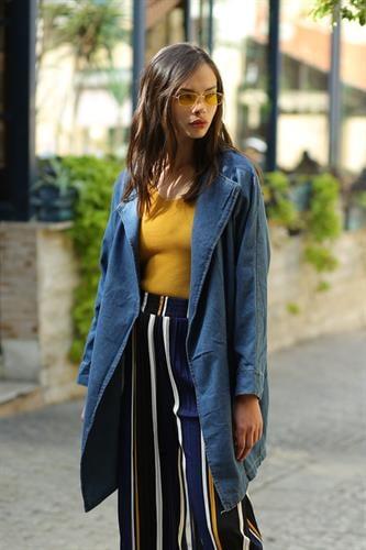 ג'קט ג'ינס לנון ארוך כחול כהה
