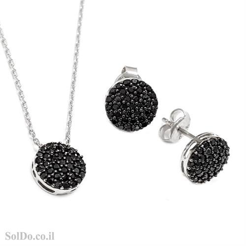עגילים צמודים ותליון מכסף משובצים אבני זרקון שחורות S1610
