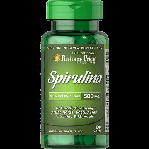 """-- ספירולינה 500 מ""""ג --  Puritan's Prid  מכיל  100 טבליות ן 500 מ""""ג"""