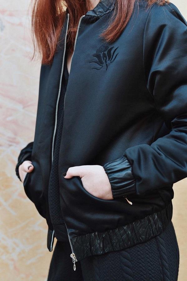 מעיל בומבר עור שחור