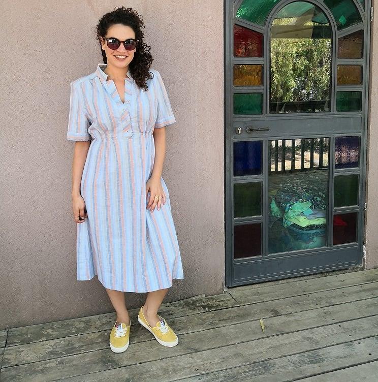 שמלת כותנה מפוספסת משנות ה-80 מידה M/L