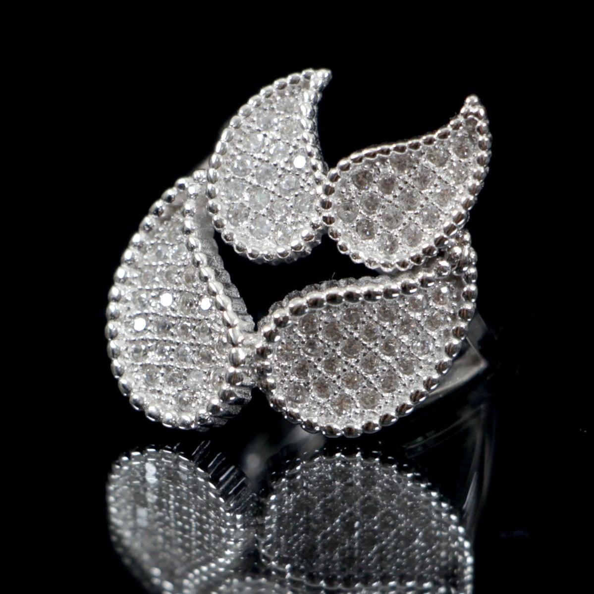 טבעת עלים משובצת זרקונים RG6245 | טבעות כסף