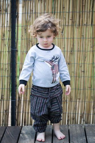מכנסי אלאדין ילדים חום פסים