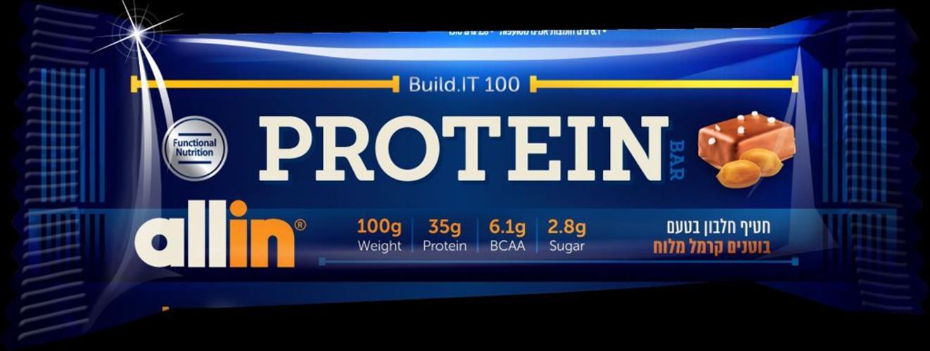 מבצע עצמאות 71 5 יח חטיפי חלבון-All-in Build.it 100 Protein Bar