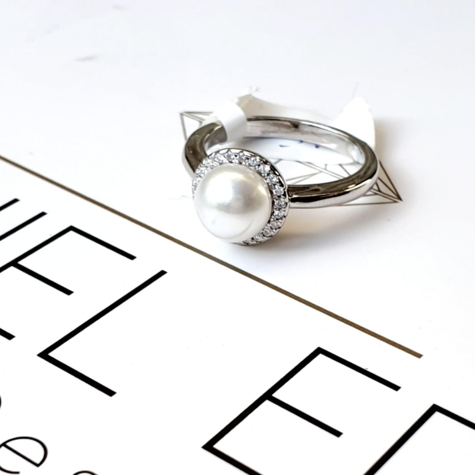 טבעת פנינה משובצת כסף 925