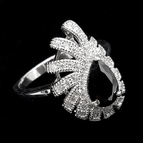 טבעת כסף משובצת זרקון שחור וזרקונים לבנים RG1477 | תכשיטי כסף | טבעות כסף