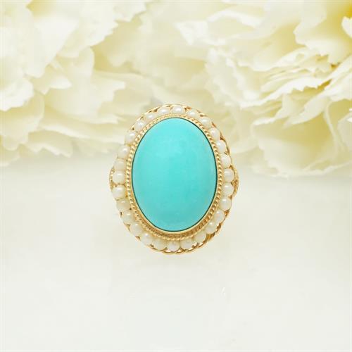טבעת זהב משובצת טורקיז ופנינים