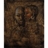 תמונות על קנבס בזוגות - אפריקאיות זהב שחור