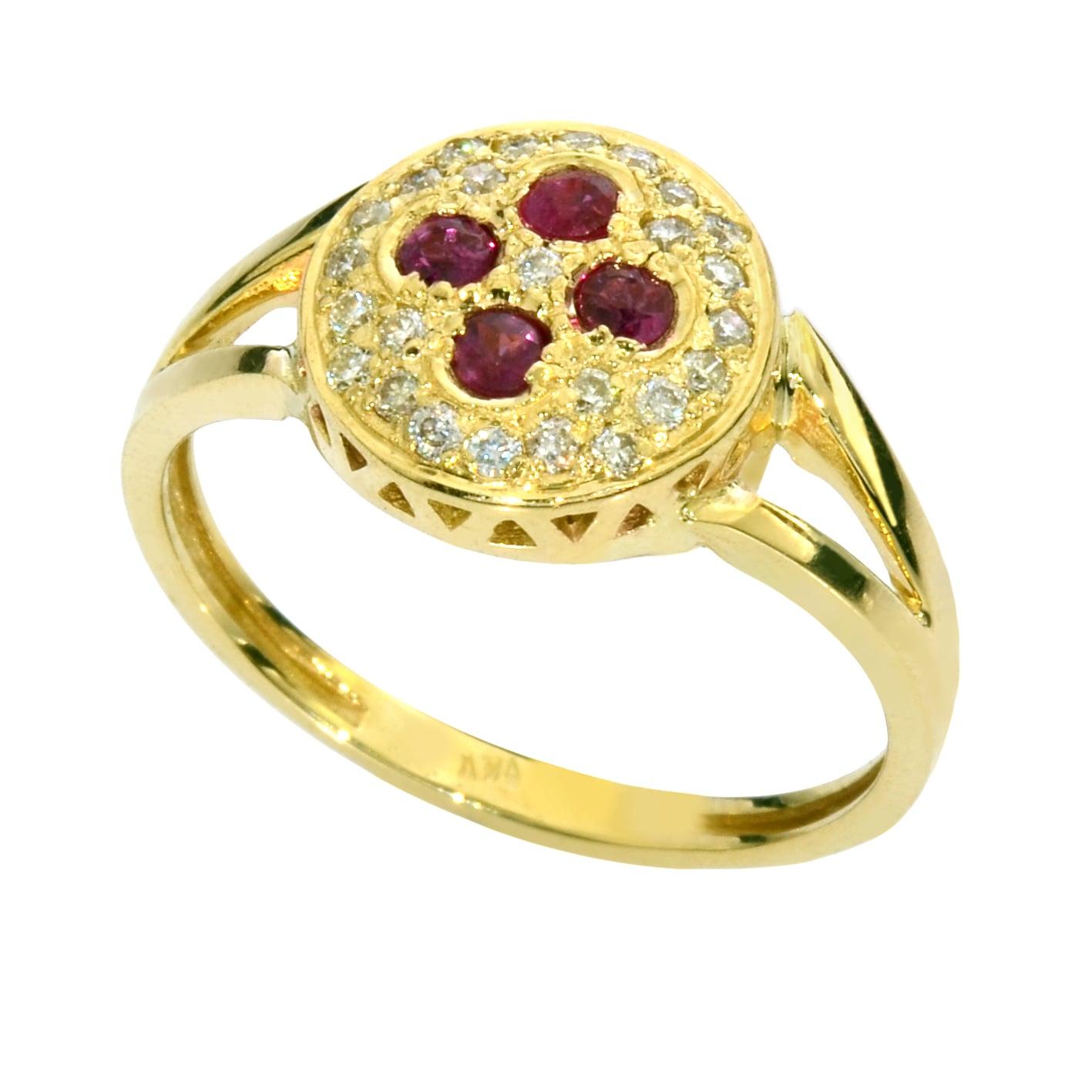 טבעת זהב 14K משובצת רובי ויהלומים 0.75 קראט