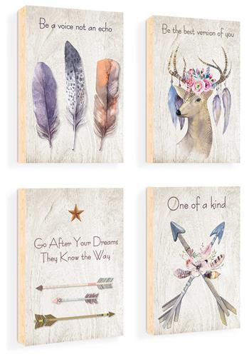 סט של 4 תמונות השראה מעוצבות לתינוקות, לסלון, חדר שינה, מטבח, ילדים - תמונות השראה אינדיאני